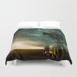 Pure Oklahoma - Windmill, Truck and Storm on Great Plains Duvet Cover