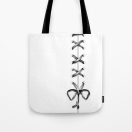 Laced Gray Ribbon on White Tote Bag