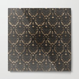 Persian Oriental Pattern - Black Leather and gold Metal Print