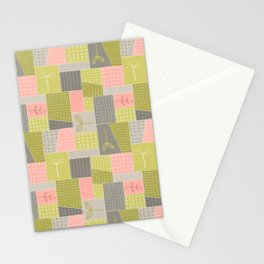 Seedlings - Gray / Rose / Green Stationery Cards