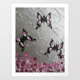 grey gray silver pink white design with three 3 butterflies butterfly pretty girls beautiful designs Art Print