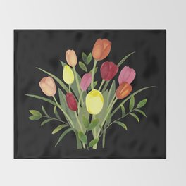 Tulips - black Throw Blanket