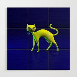 The Yellow Cat And Glass Blue Cherry Wood Wall Art