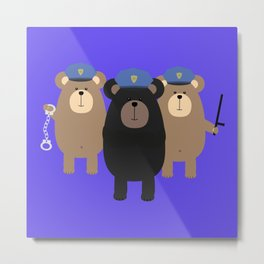 Police Officers bear Metal Print