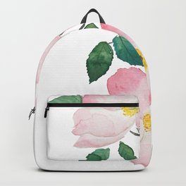 pink rosa rubiginosa watercolor Backpack