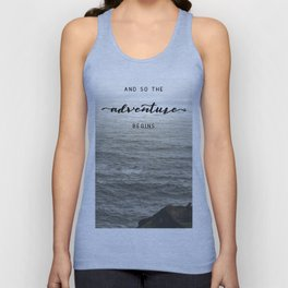 And So The Adventure Begins - Ocean Emotion Black and White Unisex Tank Top
