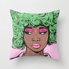 Green Kawaii Black Comic Girl Throw Pillow
