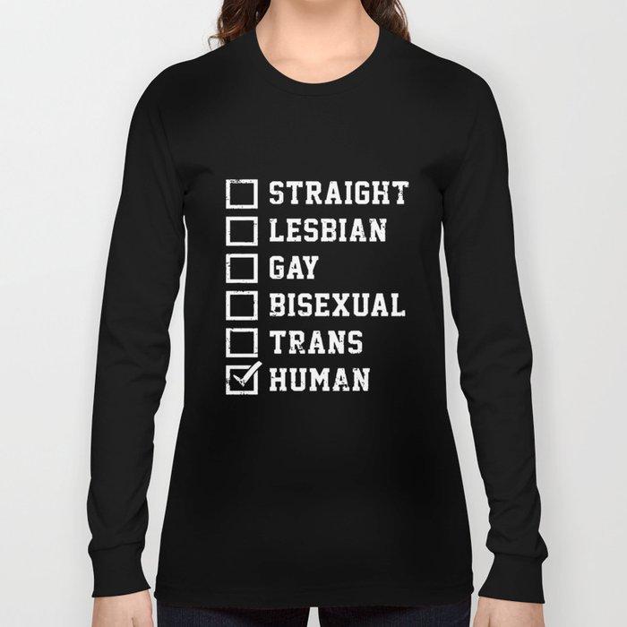 845defc73405 Straight Lesbian Gay Bisexual Trans Humans Checklist Pride Fashion Novelty  Mens Gay T-Shirts Long Sleeve T-shirt