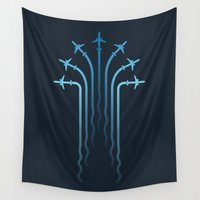 airplanes Wall Tapestries featuring Crossing the sky by Yanmos