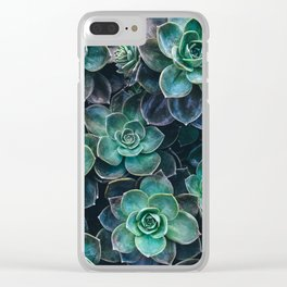 Succulent Blue Green Plants Clear iPhone Case