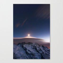 Breithorn mountain peaks light by moonlight. View from Gornergrat, Zermatt, Valais, Switzerland Canvas Print