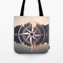 Rose Gold Compass Forest Tote Bag