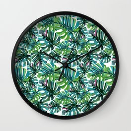 Elephant Tropical Leaves Pattern Wall Clock
