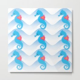 Seahorses And Blue Waves Pattern Metal Print