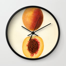 Vintage Illustration of a Sliced Peach Wall Clock