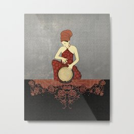 Rastafari Woman on Bongo Drum Metal Print
