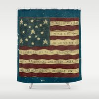 american flag Shower Curtains featuring American Flag by Argi Univrs