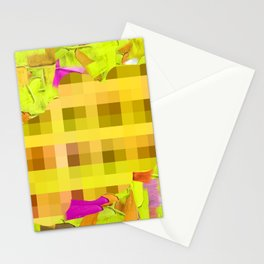 green yellow pink brown painting and pixel abstract background Stationery Cards