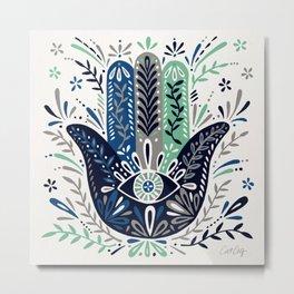 Hamsa Hand – Navy Palette Metal Print