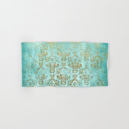 Mermaid Gold Aqua Seafoam Damask Hand & Bath Towel