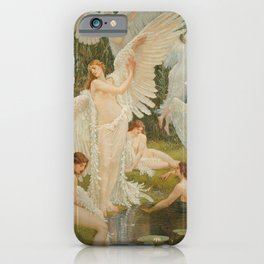Swans and the Maidens angelic garden landscape painting by Walter Crane  iPhone Case