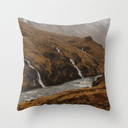 Water falls in Glen Etive Throw Pillow