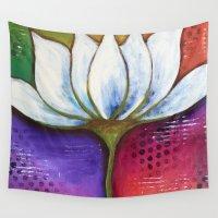 lotus flower Wall Tapestries featuring Lotus by Krazy Island Studios