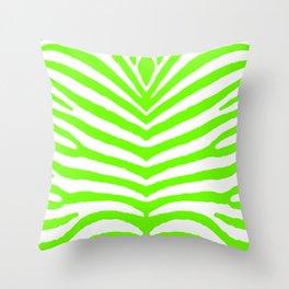 Neon Green and White Tropical Zebra Safari Stripes Throw Pillow