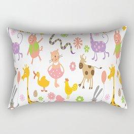 kids animal giraffe elephant cows horse pigs chicken snake cat rabbits duck flower floral rainbow Rectangular Pillow