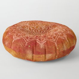 Orange Mandala Floor Pillow