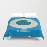 monster inc Duvet Covers featuring Monster, Inc. - Blue (Vintage) by Lemontrend Studio