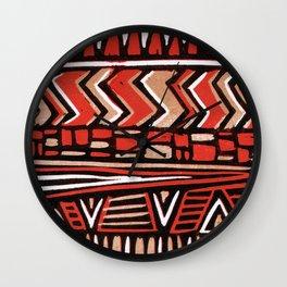 Aztec lino print Wall Clock