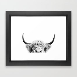 Peeking Cow BW Framed Art Print