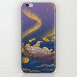 Golden fish and sailing polar bear  iPhone Skin