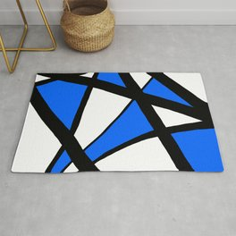 China Blue Geometric Triangle Abstract Rug