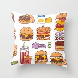 The wonder of Hamburgers Throw Pillow