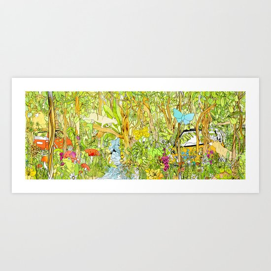Cars in the Wild (color version) Art Print