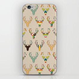 retro deer head on linen iPhone Skin