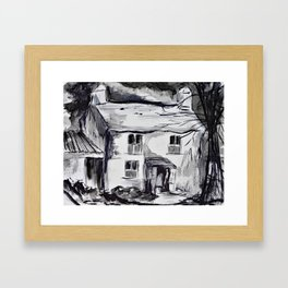 Welsh farm house, pen and ink wash, Wales Framed Art Print