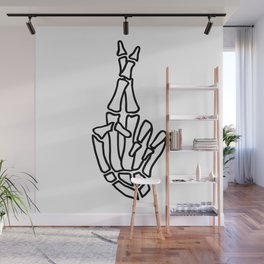 Skeleton hand with crossed fingers Wall Mural