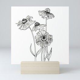 Monochrome floral Rudbeckia flowers graphic. Mini Art Print