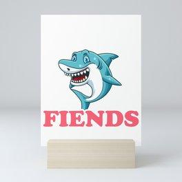 Funny Sharks Are Friends Not Fiends Cute Shark Pun Mini Art Print