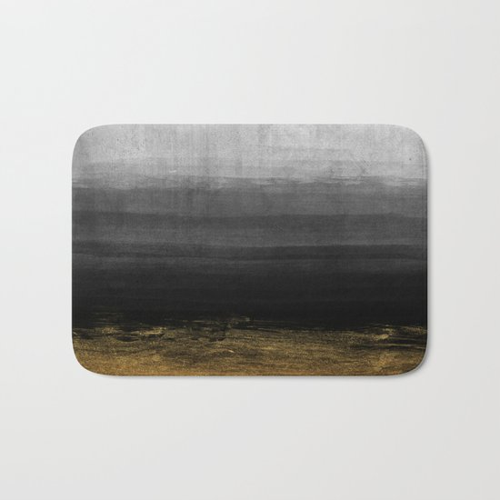 Black and Gold grunge stripes on modern grey beton abstract backround- Stripe-Striped Bath Mat