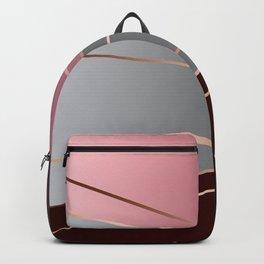 Pink, brown, grey, Golden Backpack