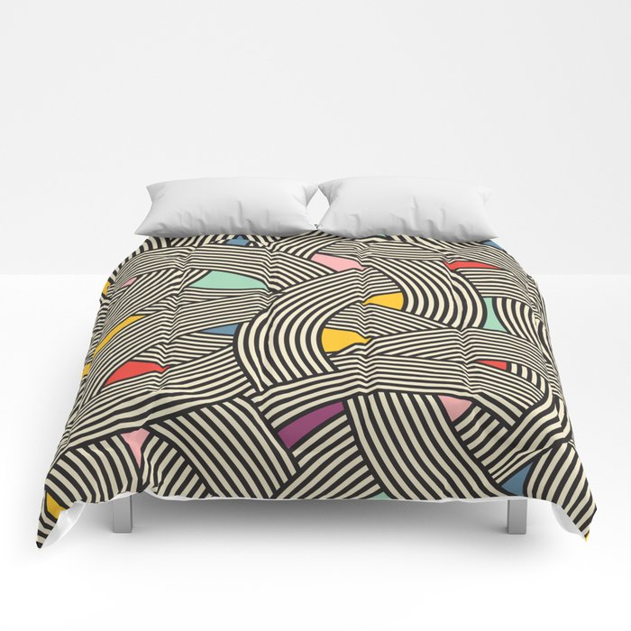 Modern Scandinavian Multi Colour Color Curve Graphic Comforters