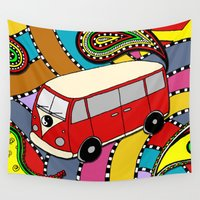 vw bus Wall Tapestries featuring Trippy VW-Style Love Bus Campervan - Red by Carrie at Dendryad Art