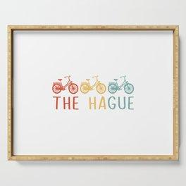 The Hague Retro Bicycle Souvenir TShirt Dutch Flag Shirt Netherlands Cycling Gift Idea  Serving Tray