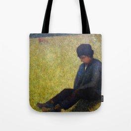 Boy Sitting in a Meadow Tote Bag