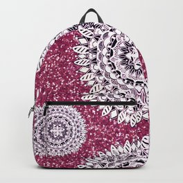 Pink Glitter and Pearl White Patterned Mandala Textile Backpack