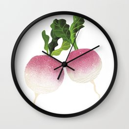 Turnip Illustration Wall Clock